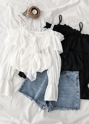 Многослойная блуза с открытыми плечами