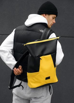 Мужской трендовый черно-желтый рюкзак для спортзала