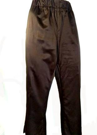 Атласные коричневые брюки, укороченные