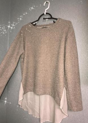 Персиковый свитер блузка блестки