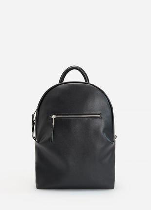 Черный кожаный городской рюкзак