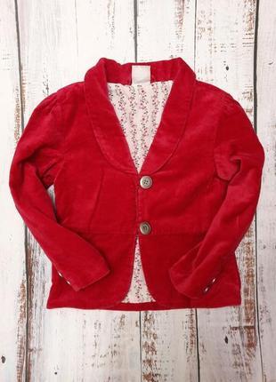 Красивый бархатный пиджак малинового цвета для девочки