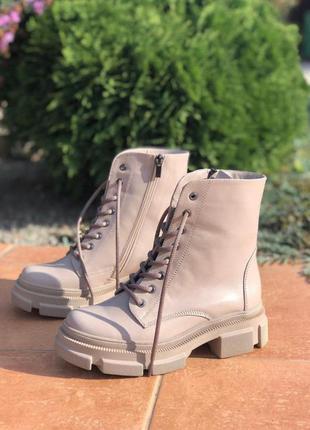 Женские ботинки кожаные зимние бежевые mkrafvt на меху