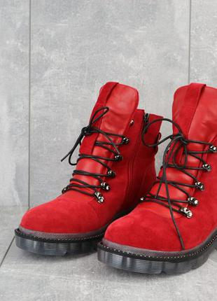 Женские ботинки замшевые зимние красные mkrafvt