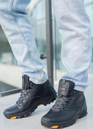 Мужские ботинки кожаные зимние черные storm