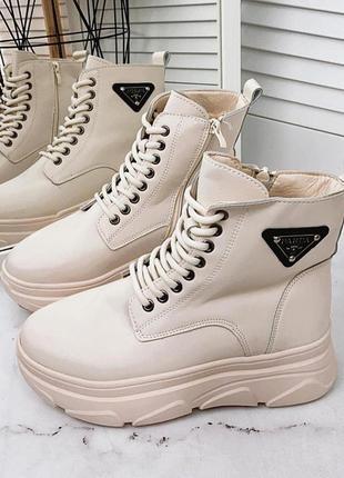Высокие ботинки из эко-кожи