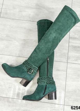 ❤ женские зеленые осенние демисезонные замшевые ботфорты сапог...