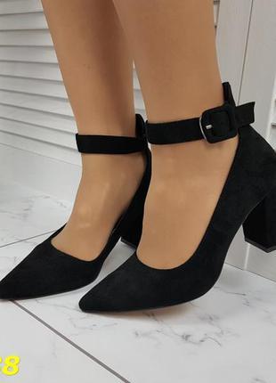Туфли лодочки с острым носком с ремешком застежкой низкий кабл...