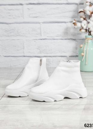 ❤ женские белые зимние кожаные ботинки сапоги ботильоны на шер...