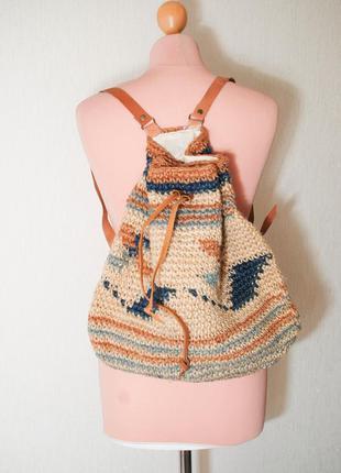 Рюкзак бохо плетеный большой ротанг  сумка плетеная ротанговая