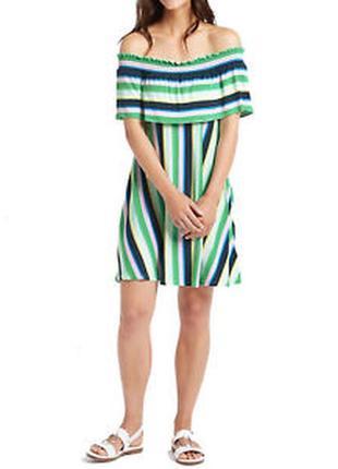 Красивое трикотаж платье в полоску спущенные плечи 14/48-50 ра...