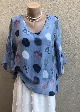 Шелковая блуза,рубаха в горохи,воланы на рукавах,этно,бохо стиль,