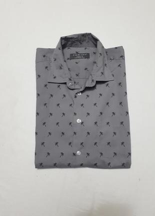 Шведка рубашка с короткими рукавами серая тропический принт р м