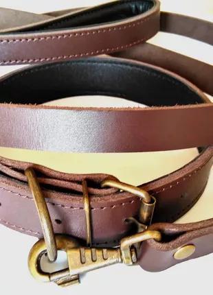 Кожаний поводок и ошейник для собак 40-60 кг.