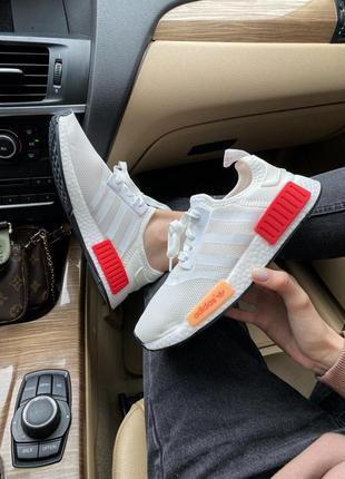 Кроссовки adidas nmd r1 white/red кросівки