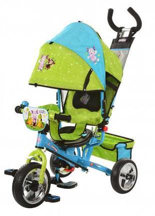 Детские трехколесные велосипеды в ярких мультяшных расцветках.