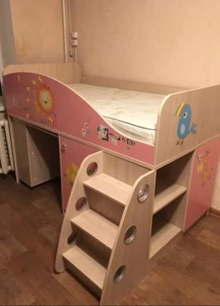 Кровать-стеллаж детская Snite S-клас 211 и матрас Veneto