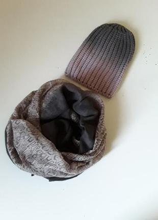 Шапка бини амбре  с шарфом 🎁