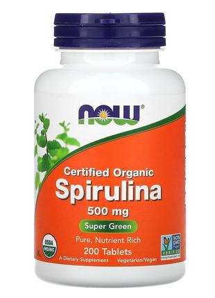 Спирулина натуральная 500 мг, 200 табл. Now Foods США