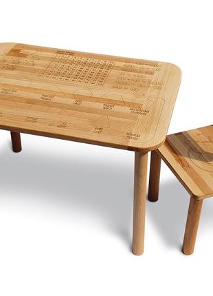 Столик зі стільчиком дитячий дерев'яний Happy Математика ЕКО 04-B