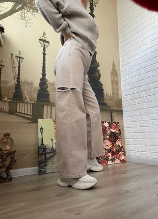 Женские джинсы бежевые палаццо
