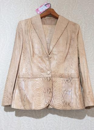 Костюм кожа кожаный пиджак и юбка кожа питона питон