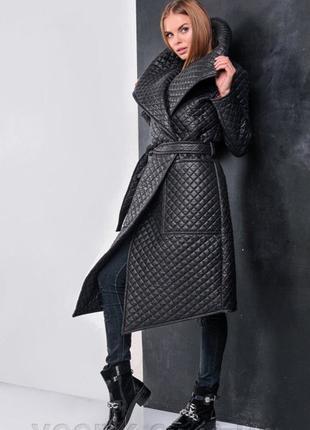 Пальто норма-батал Королева стеганая плащевка