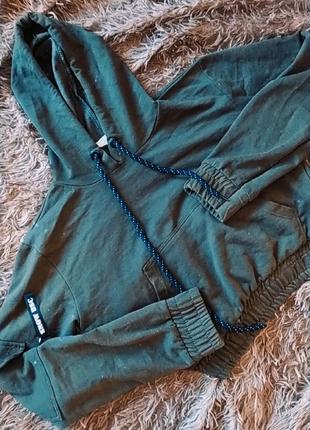 Кофта,с карманами,хаки, укороченная