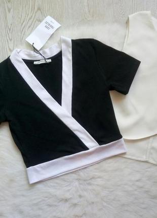 Черный с белым кроп топ короткая футболка секси с вырезом рука...