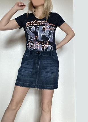 Короткая темно-синяя джинсовая мини юбка eur 42