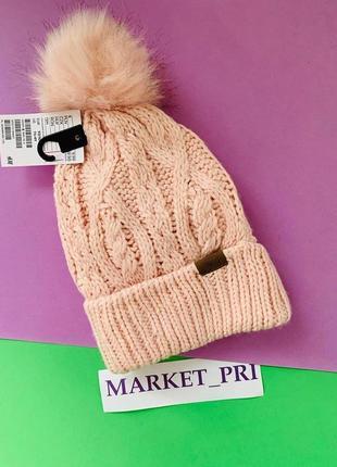 Тёплая шапка hm розового цвета для девочки