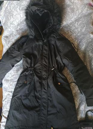 Парка с мехом внутри/ куртка женская