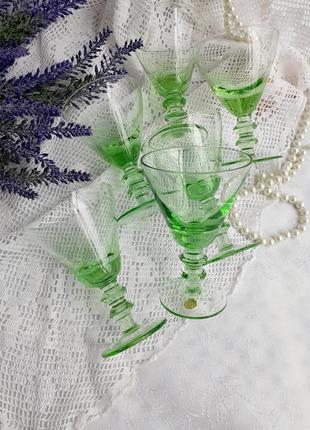 Бокалы коктейльные ссср советские для мартини тонкое зеленое у...