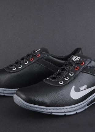 Мужские спортивные туфли, кроссовки эко кожа чёрные