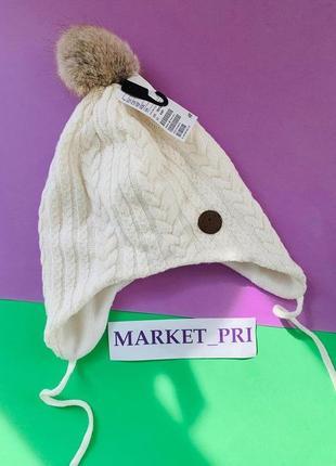 Тёплая шапка hm для  девочки, шапка с помпоном