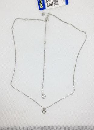 Новая родированая серебряная цепочка якорка чокер 40-47 см сер...