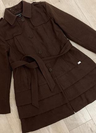 Женское коричневое шерстяное пальто с поясом теплое +-хл- 2хл+-