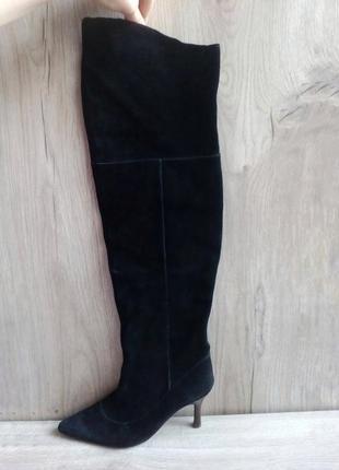 Ботфорты высокие сапоги из натуральной замши с острым носком
