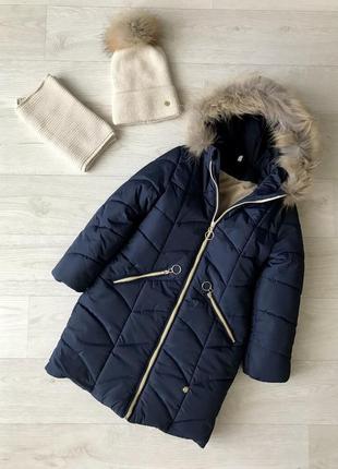 Зимняя удлинённая куртка для девочек