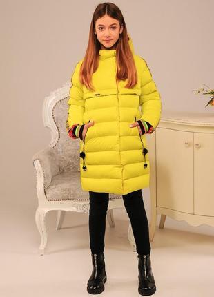 Желтая яркая куртка детская все размеры зимняя пуховик