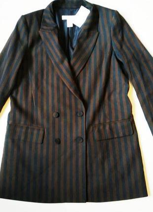 Удлиненный пиджак жакет полоска