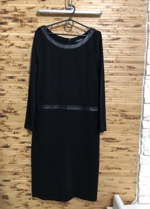 Ralph lauren замечательное черное платье с кожаными вставками ...