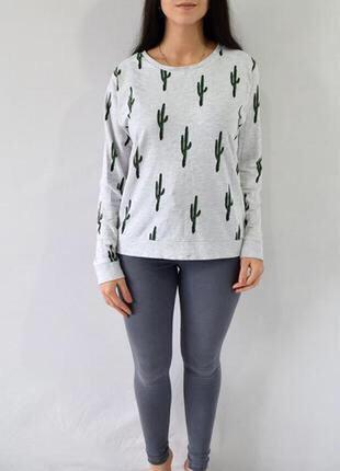 H&m свитшот принт кактусы свитер пуловер джемпер ткань средней...