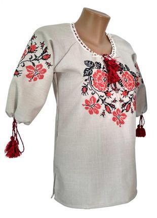Жіноча вишита хрестиком сорочка з домотканого полотна червоно-...