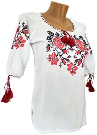 Жіноча вишита сорочка з домотканого полотна з трояндами в білому