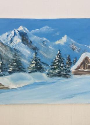 картина зима в горах