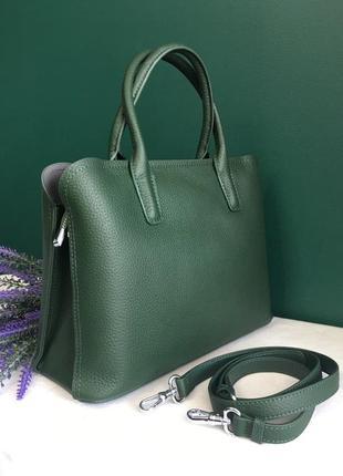 Сумка кожаная классическая  цвет темно зеленый polina eiterou