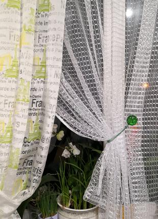 Занавеска тюль со шторой с надписями