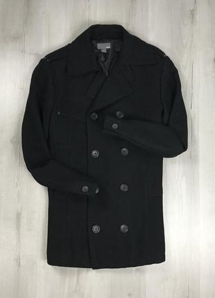 F9 пальто приталенное темное черное шерстяное двубортное удлин...