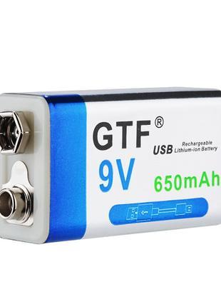 Аккумулятор Крона 9В 650mAh GTF Li-Ion (6F22) зарядка micro-USB